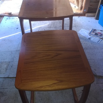 Nathan craftsmanship Vintage retro two nesting side tables in teak all wood 60s-70s.