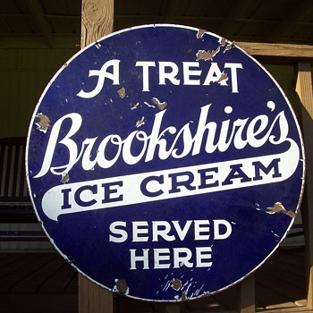 Antique BrookShire's Ice Cream Doubled Sided Porcelain Sign - Signs