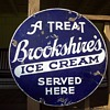 Antique BrookShire&#039;s Ice Cream Doubled Sided Porcelain Sign
