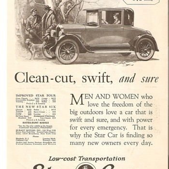 Sales Ad for 1926 Star Car - Advertising