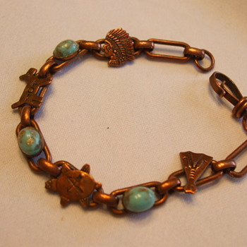 Early Vintage Native Themed COPPER BRACELET with Incrusted Turquoise