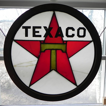 "Stained glass ""TEXACO"" Sign - Art Glass"