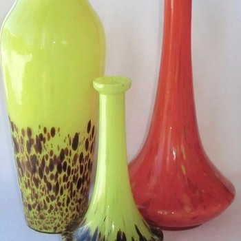 New Rückl Decor In Two Vase Shapes - Genie Bottle and Meiping Tube
