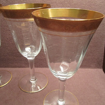Minton, Tiffin ? Gold Edge Wine/ Water Glass - Glassware