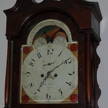 John J. Parry Tall Case Clock face - Clocks