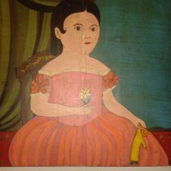 Folk Art Childs Portrait on Wood  - Folk Art