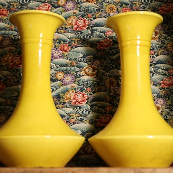 Two Large Yellow Awaji Vases