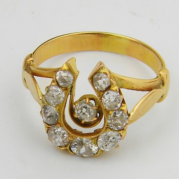 Antique Georgian Diamond Horseshoe 18k Ring 1.65CTW