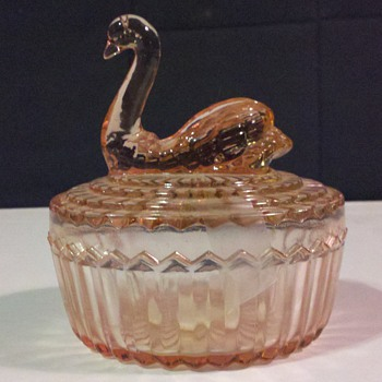 Pink Swan Glass Powder Jar - Glassware
