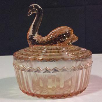 Pink Swan Glass Powder Jar