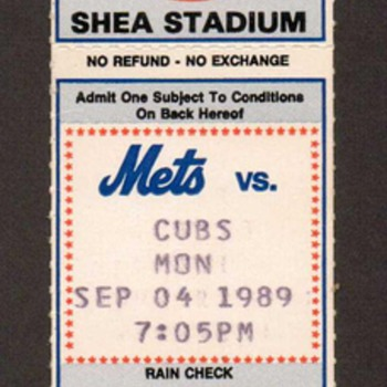 1989 - NY Mets Baseball Ticket