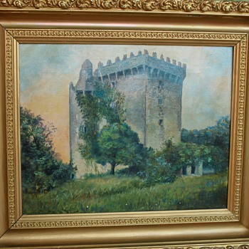 Late 1800's Blarney Castle Oil Painting in Gold Gilded Frame - Visual Art