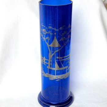 Kralik Export  (Wiener Werkstatte) Cobalt Glass Silver Residue Gazebo Vase Marked - Art Glass