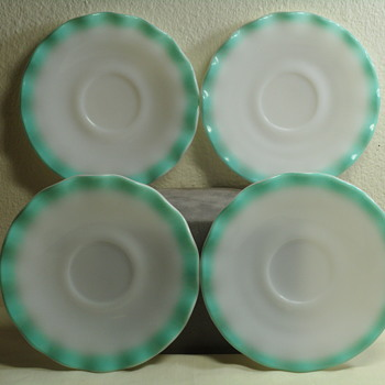 Hazel Atlas Ripple or Crinoline Pattern Saucers in Turquoise - Glassware