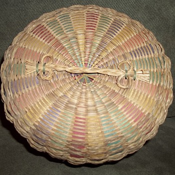 Beautiful sewing basket, made by a member of the Wabanaki tribes.