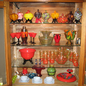 Some of my Czech collection couple Loetz pcs - Art Glass