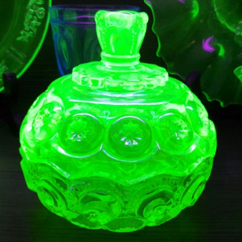 "Weishar ""Moon & Star"" Uranium lidded bowl  - Glassware"