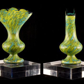 Welz Fan Vase Shape - Bi-colored Spots in Aqua Blue & Lime Green  - Art Glass