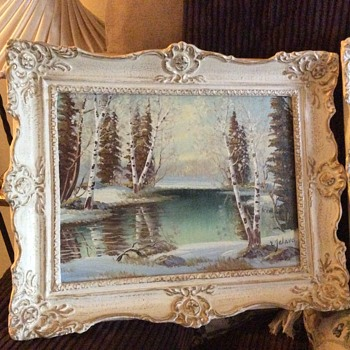 E. JALAVA WINTER LANDSCAPE OIL PAINTINGS - Arts and Crafts