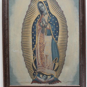 Vintage Our Lady of Guadalupe Painting - Visual Art