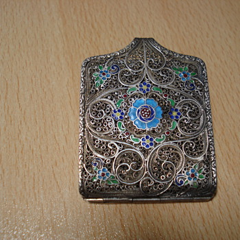 Victorian Card Case of silver filigree, enamel and marked