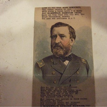 1880 Victorian presidential election durham tobacco trade card - Advertising