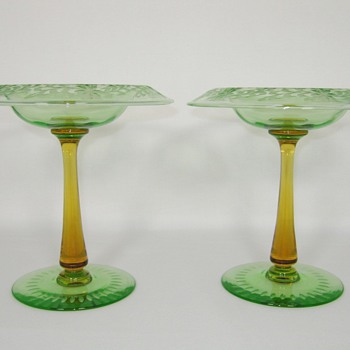 Outstanding Carder Steuben Compotes, Wheel Cut Engraved Uranium, with Amber Stems - Art Glass
