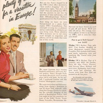 1953 - TWA Airlines Advertisement - Advertising