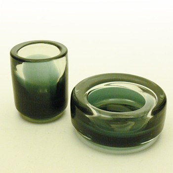Ashtray and cigarette case set, Per Lütken (Holmegaard, ca.1960?)