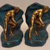 "Crescent Metal Arts Art Deco ""Struggle"" Bookends, 1930"