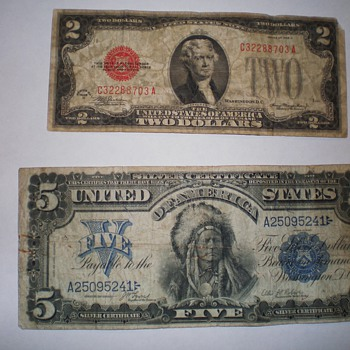 1899 $5 Silver Certificate and a 1928 D $2 bill