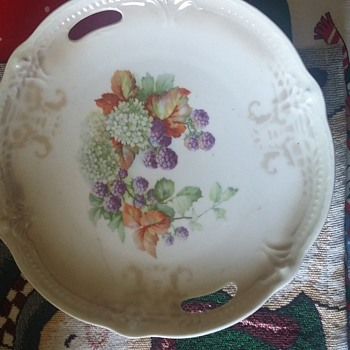 germany open handle cake plate 238 - China and Dinnerware