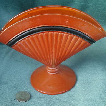 Orange and black Czech art deco fan vase - Art Glass