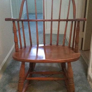 Windsor style all wood rocking chair