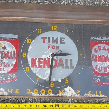 Kendall oil advertising sign/clock - Petroliana