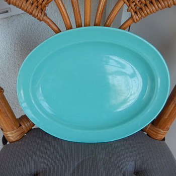 Buffalo USA China - oval platter blue/green