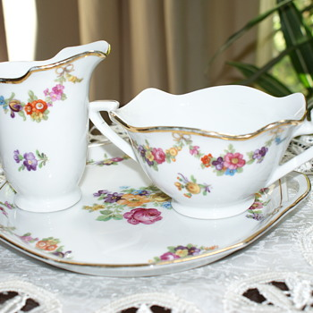 Schumann Porcelain Creamer, Sugar Bowl, and Plate/Tray