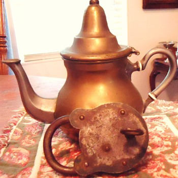 Morocco teapot and old lock, bought after crossing Sahara Desert  1972