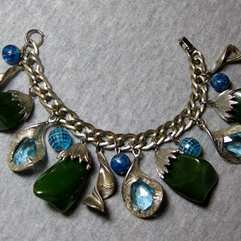 Blue and green bakelite, plastic and glass 1950's charm bracelet