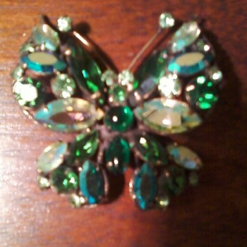 Regency Butterfly Pin - Costume Jewelry