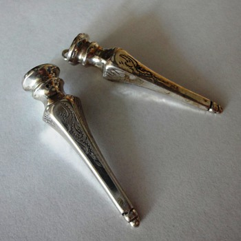 Two nice Decorated Silver Knitting Needle Holders