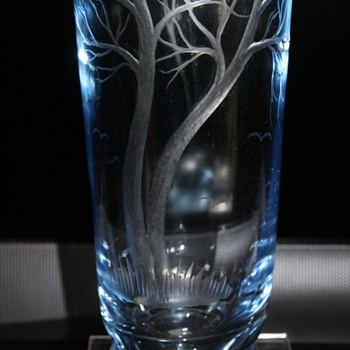 Art Glass  Vase Engraved Trees - Art Glass