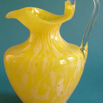 Late 19th Century Bohemian Yellow and White glass jug