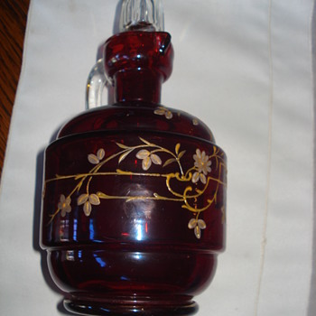Harrach ruby glass decanter about 1885