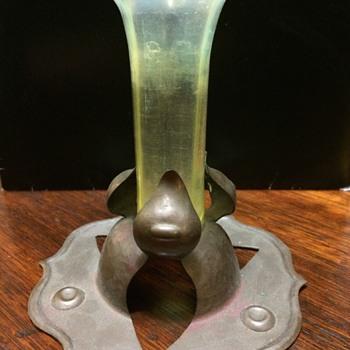 Arts & Craft copper & vaseline glass specimen vase