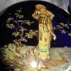Cobalt Glass Vanity Box Hand Painted Lady