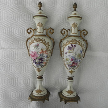 French Gilt-Bronze and Porcelain Urns - Art Pottery