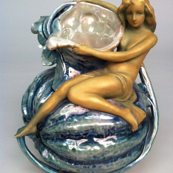 Nymph on a Gourd by Ernst Wahliss - Art Pottery