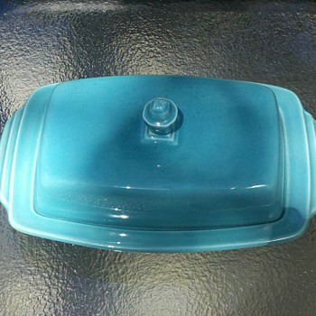 Turquoise Covered Dish(butter?)