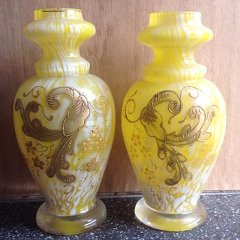 A pair of small Bohemian vases.